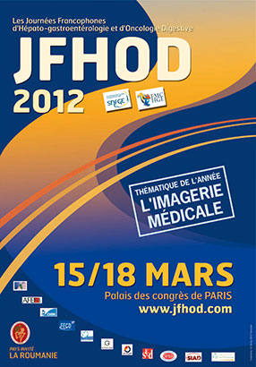 AfficheJFHOD journées francophones d'hépato-gastroentérologie 2012 APSSII (association des patients souffrant du syndrome de l'intestin irritable) ou colopathie fonctionnelle